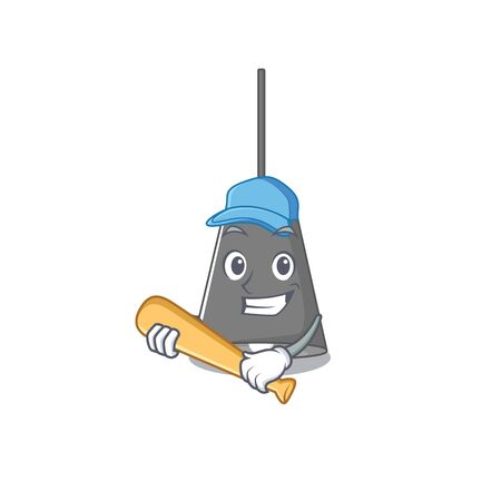 Playing baseball pendant lamp cartoon with mascot shape vector illustration Çizim