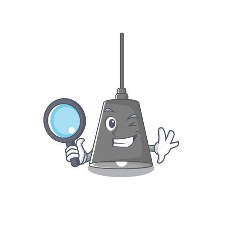Detective pendant lamp stuck to cartoon wall Çizim