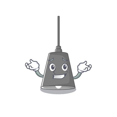 Grinning pendant lamp stuck to cartoon wall vector illustration Çizim