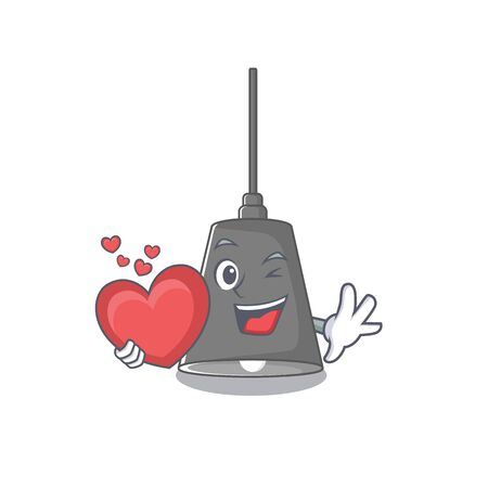 With heart pendant lamp isolated in the character vector illustration