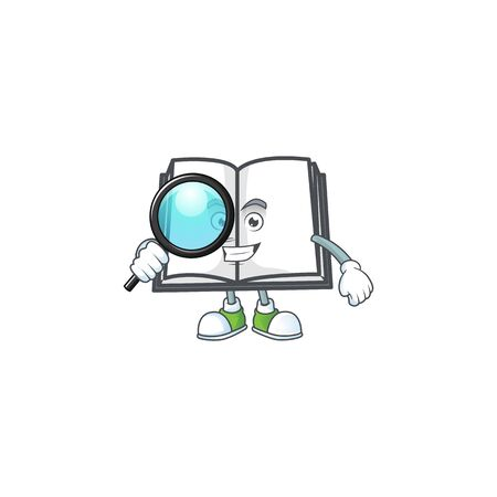 Detective open book with character mascot style vector illustration