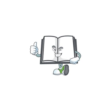 Thumbs up open book with character mascot style vector illustration 向量圖像