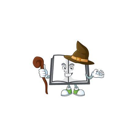 Witch cartoon open book with cartoon shape vector illustration Illustration