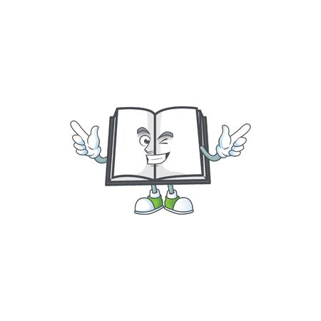 Wink open book with character mascot style vector illustration