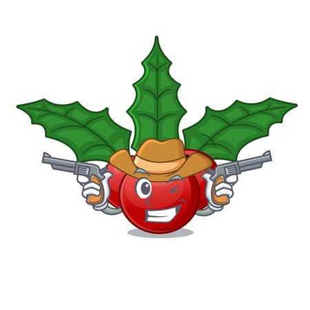 Cowboy christmas holly berry on a cartoon Ilustrace
