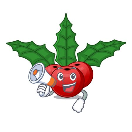 With megaphone christmas holly berry on a cartoon Stock Illustratie