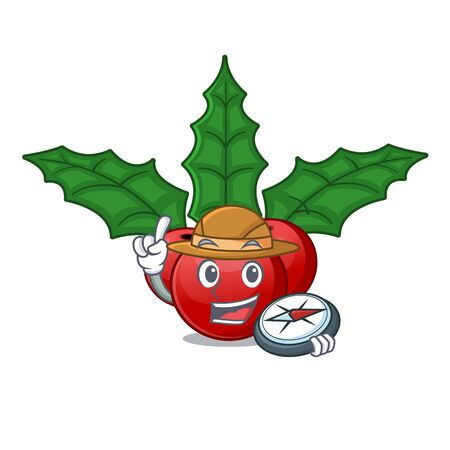 Explorer christmas holly berry with character shape 일러스트