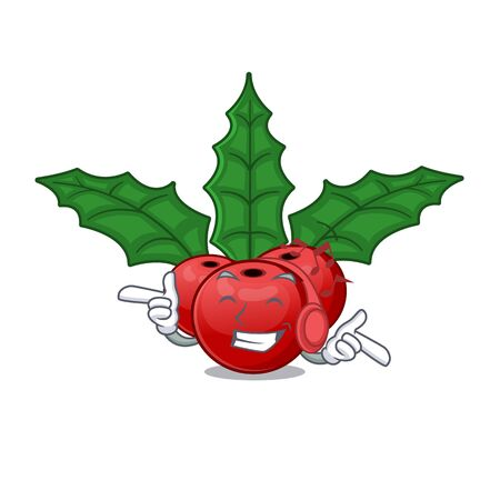Listening music christmas holly berry with character shape