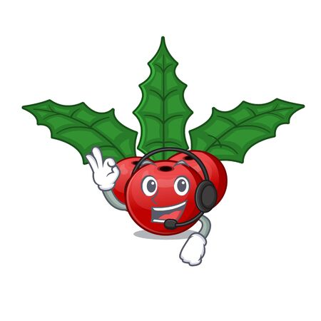 With headphone christmas holly berry in the cartoon
