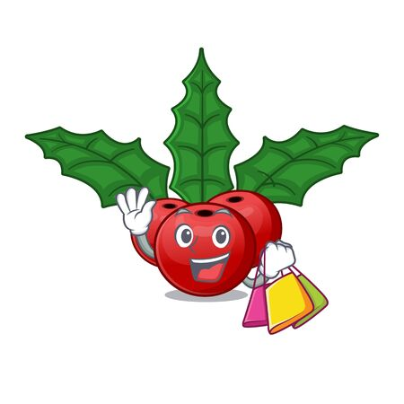 Shopping christmas holly berry isolated the mascot Illustration