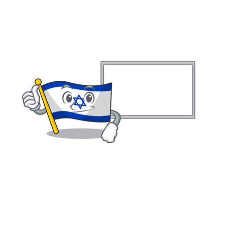 Thumbs up with board flag israel isolated with the cartoon