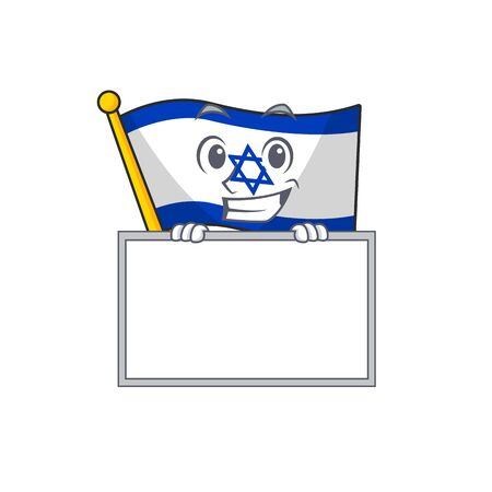 Grinning with board flag israel isolated with the cartoon