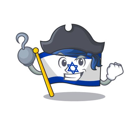 Pirate flag israel isolated with the cartoon Illustration