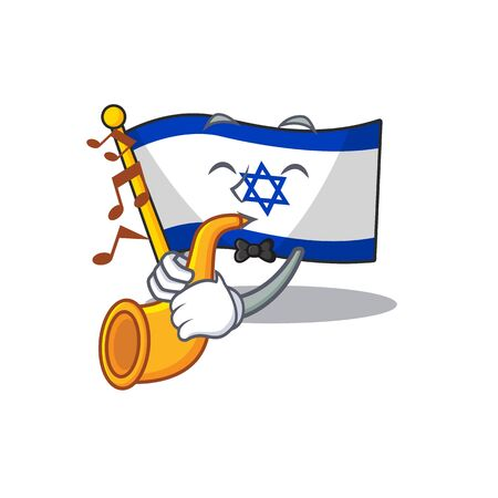 With trumpet flag israel with the character shape Illustration