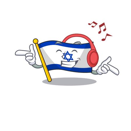 Listening music flag israel with the character shape