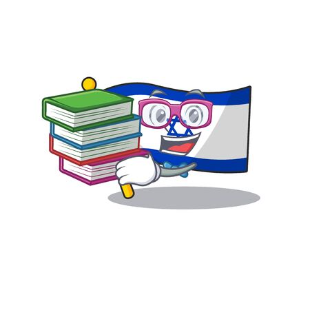 Student with book flag israel stored in cartoon cupboard