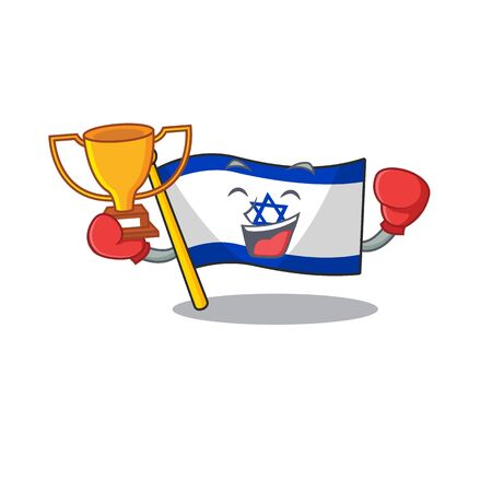 Boxing winner flag israel stored in cartoon cupboard