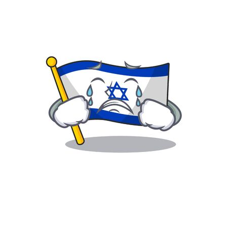Crying flag israel with the character shape vector illustration