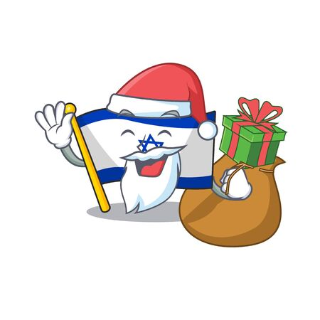 Santa with gift flag israel stored in cartoon cupboard vector illustration