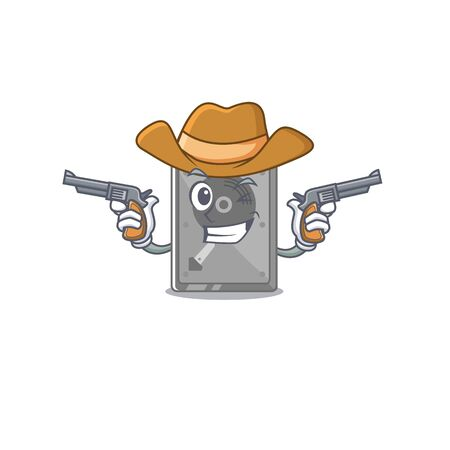 Cowboy hard drive internal on the character vector illustration