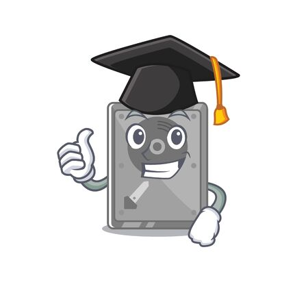 Graduation hard drive internal mascot isolated cartoon vector illustration