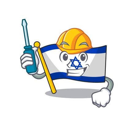 Automotive flag israel stored in cartoon cupboard vector illustration
