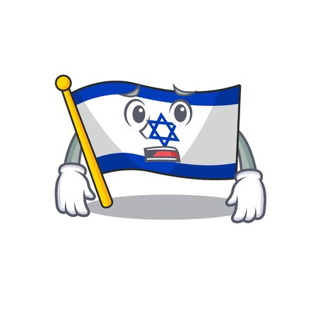 Afraid flag israel with the character shape vector illustration
