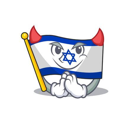 Devil flag israel with the character shape vector illustration