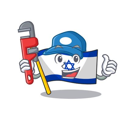 Plumber flag israel stored in cartoon cupboard vector illustration