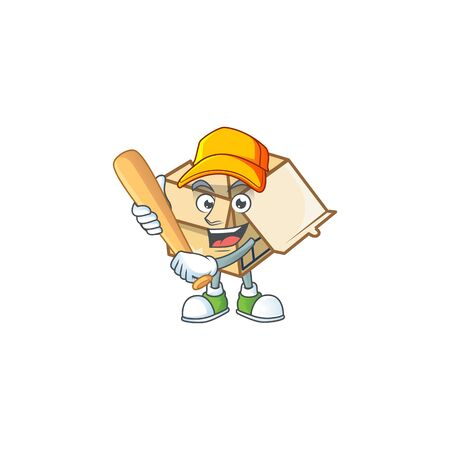 Playing baseball box cardboard open for goods packaging vector illustration