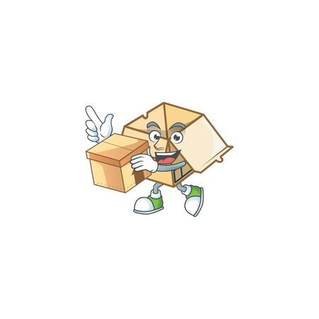 With box cardboard open with character mascot shape vector illustration