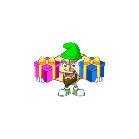 Bring two gifts cardboard open isolated on white background vector illustration