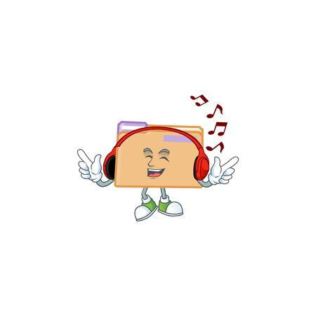 Listening music folder for storage with character shape vector illustration