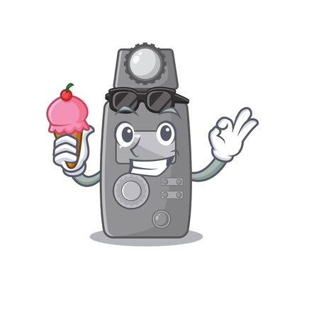 With ice cream light meter isolated with the cartoon vector illustration