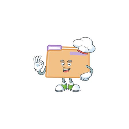 Chef folder icon with character the mascot vector illustration