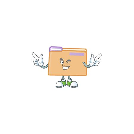 Wink folder icon with character the mascot vector illustration