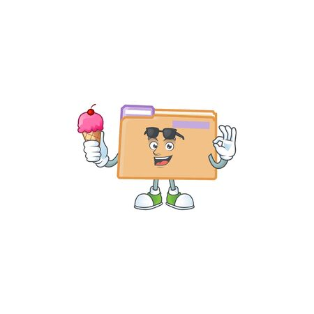 With ice cream folder icon with character the mascot vector illustration