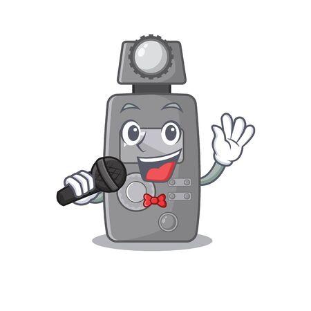 Singing light meter on the cartoon table vector illustration