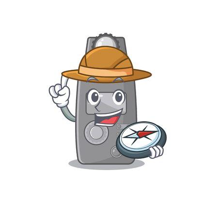 Explorer light meter on the cartoon table vector illustration 일러스트