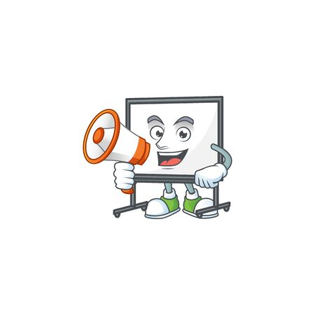 With megaphone white board for a teaching equipment vector illustration