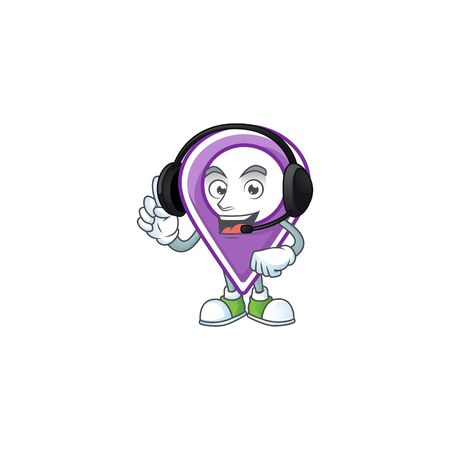 With headphone pin location cartoon on white background vector illustration