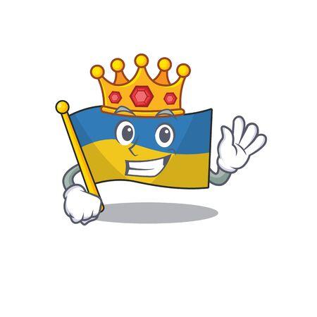 King flag ukraine folded in character drawer vector illustration