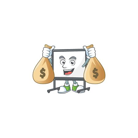 With money bag white board for a teaching equipment vector illustration  イラスト・ベクター素材