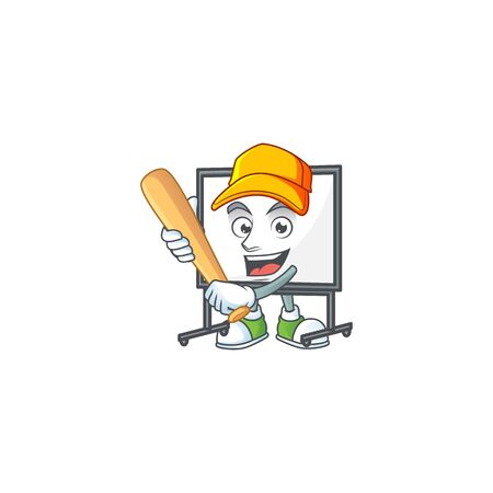 Playing baseball white board for a teaching equipment vector illustration
