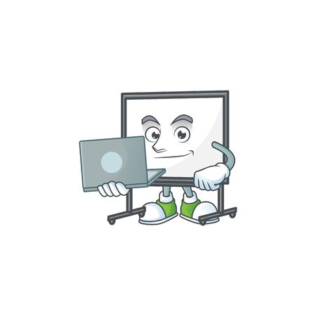 With laptop white board for a teaching equipment vector illustration