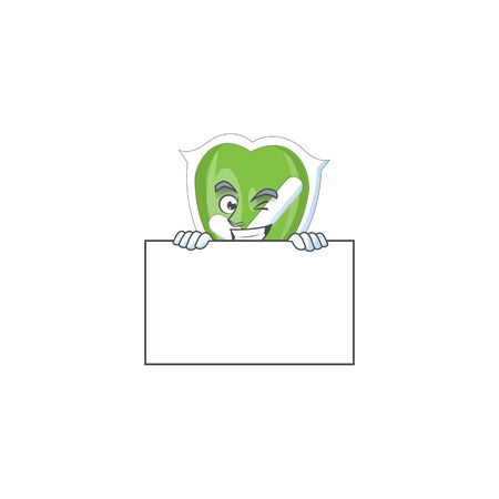 Grinning with board checkmark shield for symbol a protection vector illustration