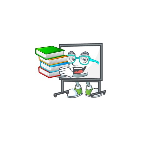 Student with book white board cartoon on white background vector illustration  イラスト・ベクター素材