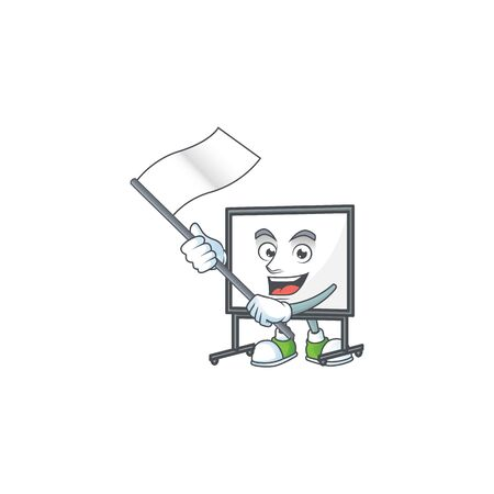 With flag white board cartoon on white background vector illustration  イラスト・ベクター素材