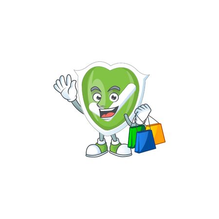 Shopping checkmark shield with character a mascot vector illustration