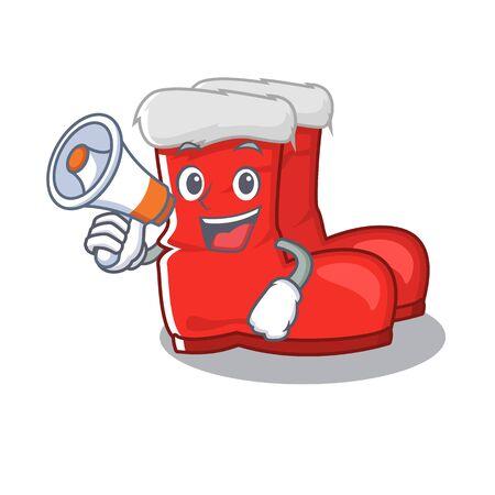 With megaphone santa boots stored in mascot cupboard vector illustration Ilustração